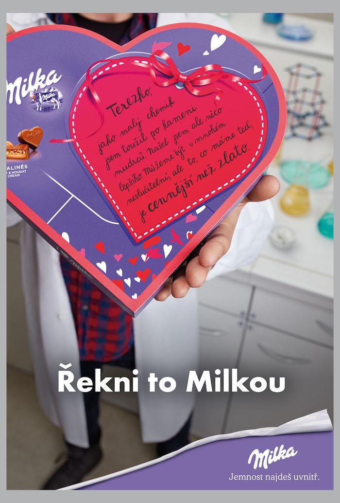 Klíčový vizuál k valentýnské kampani značky Milka
