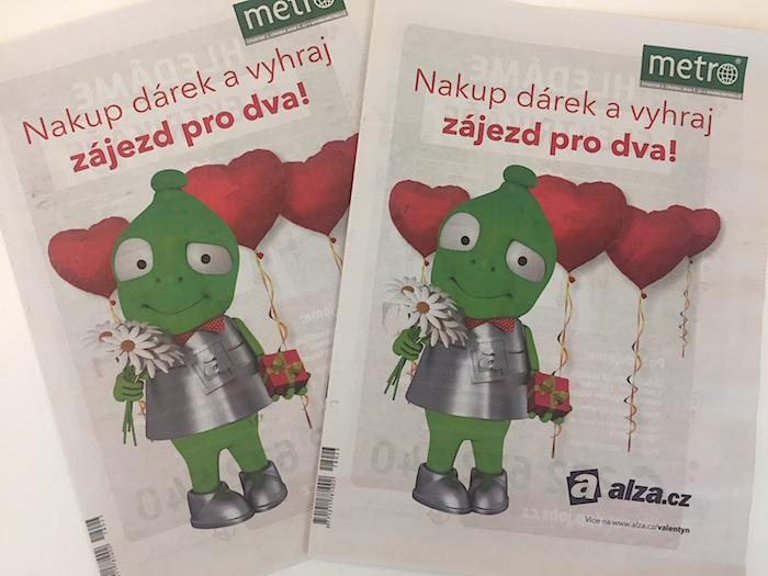 Alza.cz ve své valentýnské kampani využila i titulní stranu deníku Metro, foto: MediaGuru.cz.