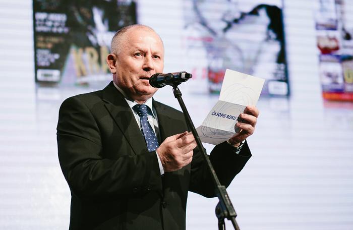 Jozef Šabľa při vyhlašování soutěže Časopis roku, foto: Unie vydavatelů