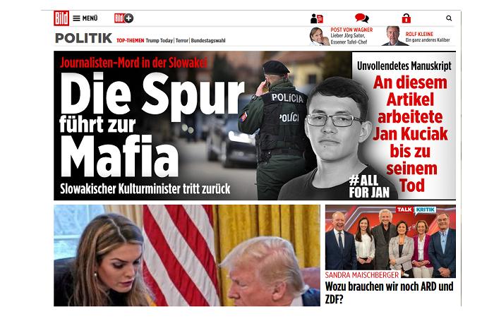 Článek Jána Kuciaka v německém Bildu