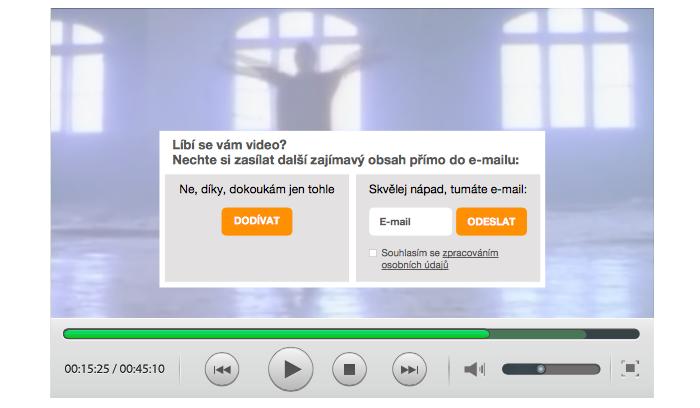 Možnost řešení sběru e-mailů při sledování videa, zdroj: eLegal