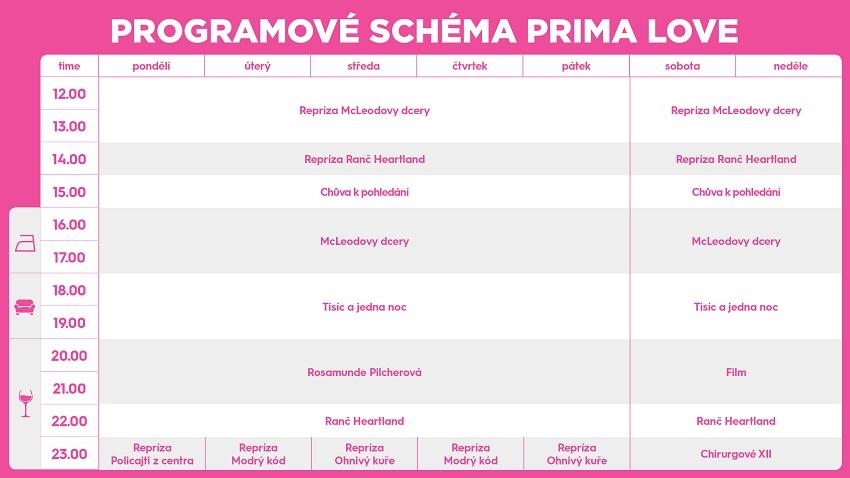 Programové schéma Prima Love, zdroj: FTV Prima