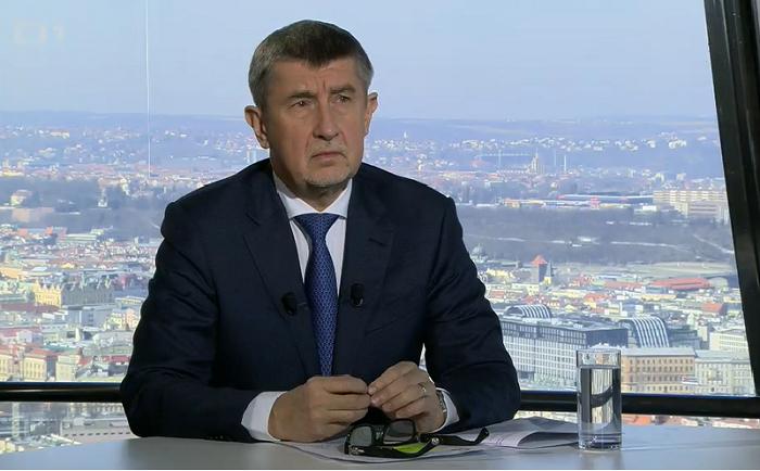 Andrej Babiš v pořadu Otázky Václava Moravce, repro vysílání ČT