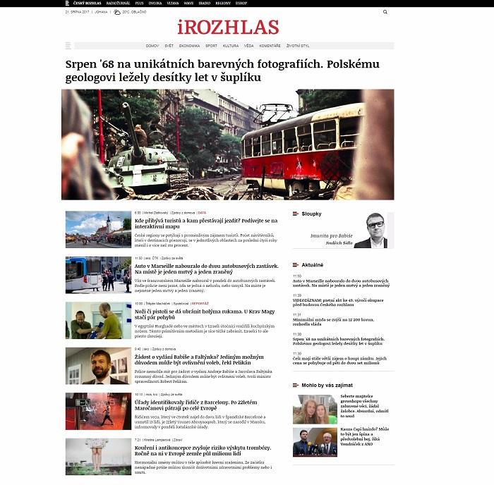 Design stránek iRozhlas.cz, srpen 2017
