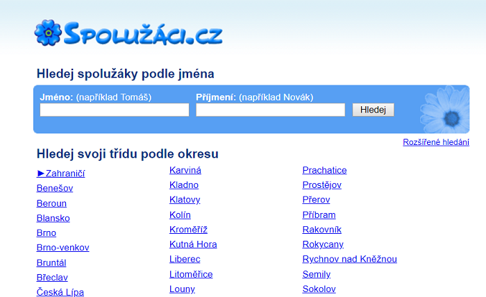 Home page stránky Spolužáci.cz