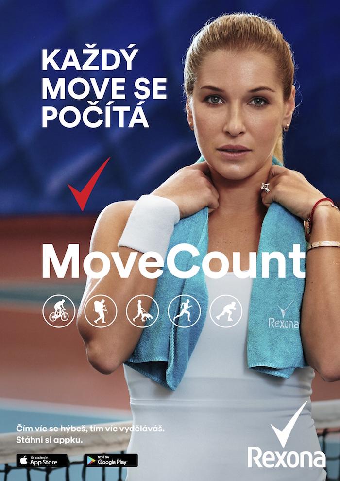 Klíčový vizuál značky Rexona k podpoře aplikace MoveCount