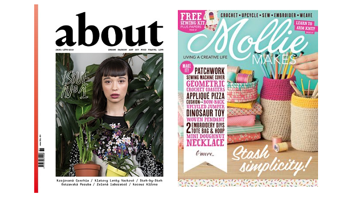 Titulní stránka časopisu About a britské verze magazínu Mollie Makes