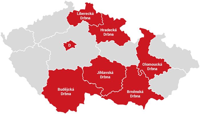 Pokrytí serverů Drbna, zdroj: Trima News