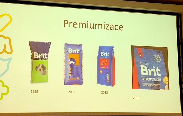 Ilustrace premiumizace značky Brit, z pouhého označení, že se jedná o krmivo pro psy k prémiové variantě, zdroj: Vafo.