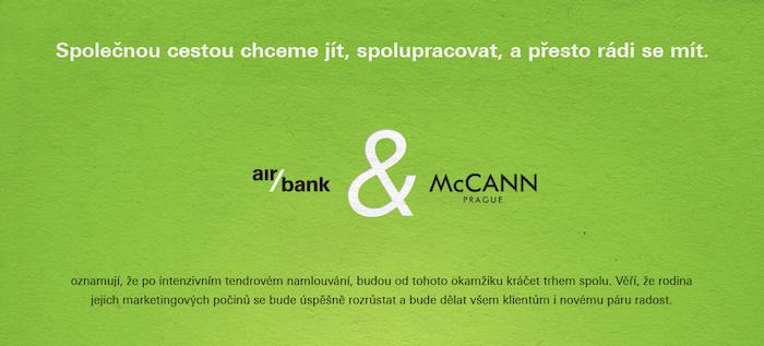 """""""Zásnubní oznámení"""" AirBank s agenturou McCann"""