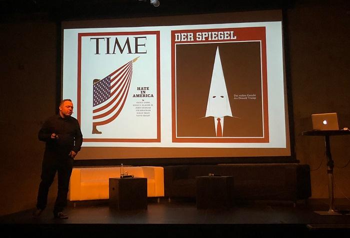 Rodriguezova tvorba se často objevuje na titulkách časopisů Time nebo Der Spiegel, foto: MediaGuru.cz.