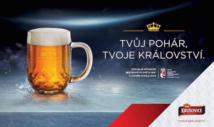 Klíčový vizuál hokejové kampaně značky Krušovice