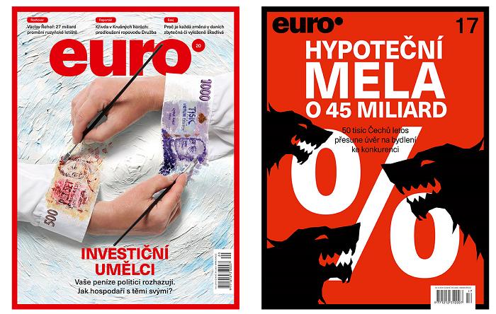 Vlevo nová titulní strana týdeníku Euro, vpravo dosavadní podoba titulní strany
