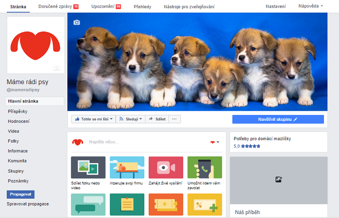FB profil Máme rádi psy