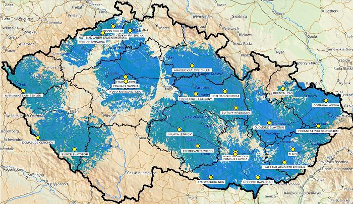Mapa pokrytí Přechodové sítě 13 k 29. květnu 2018