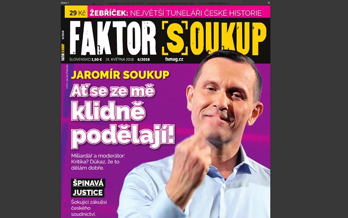 Titulní strana magazínu Faktor Soukup, 6/2018