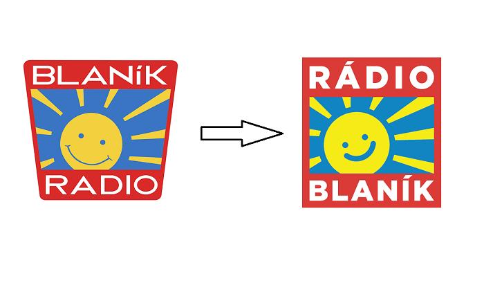 Vlevo stávající logo, vpravo nové logo Rádia Blaník
