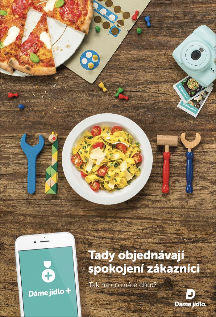 Klíčový vizuál k propagaci služby Dáme jídlo+