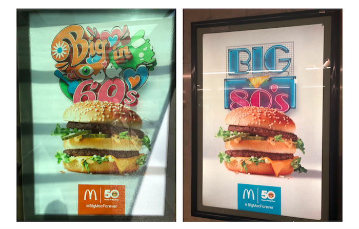 Ukázka outdoorové reklamy McDonald's k 50 letům Big Mac, foto: MediaGuru.cz