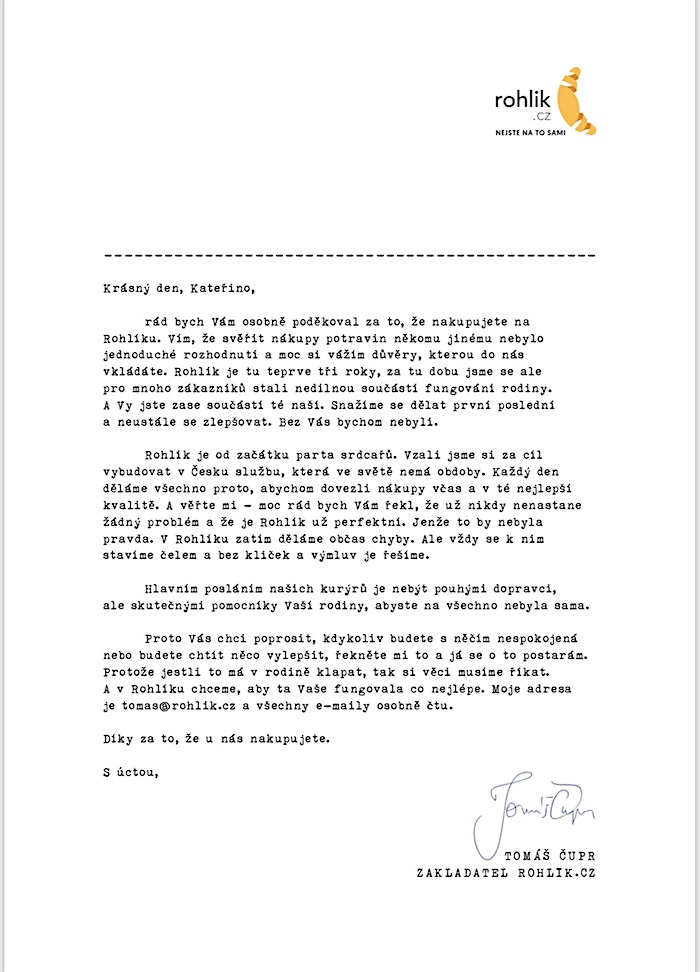 Ukázka personalizovaného dopisu, zdroj: Rohlik.cz
