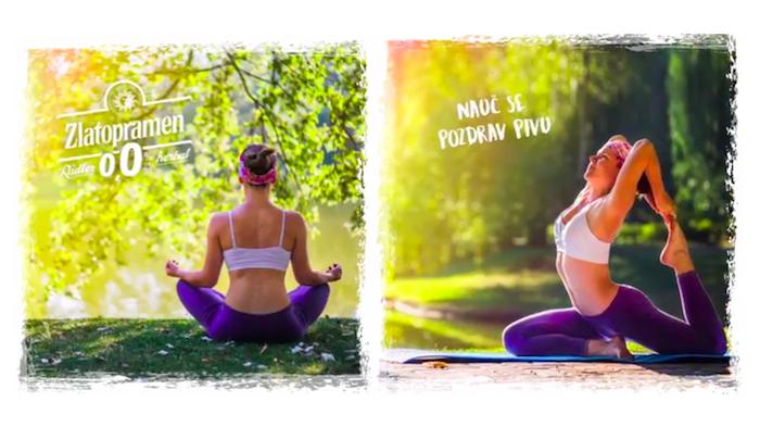 Na sociálních sítích se značka Zlatopramen při podpoře nealkoholické novinky spojuje i s jógou, zdroj: Instagram Zlatopramenherbal.