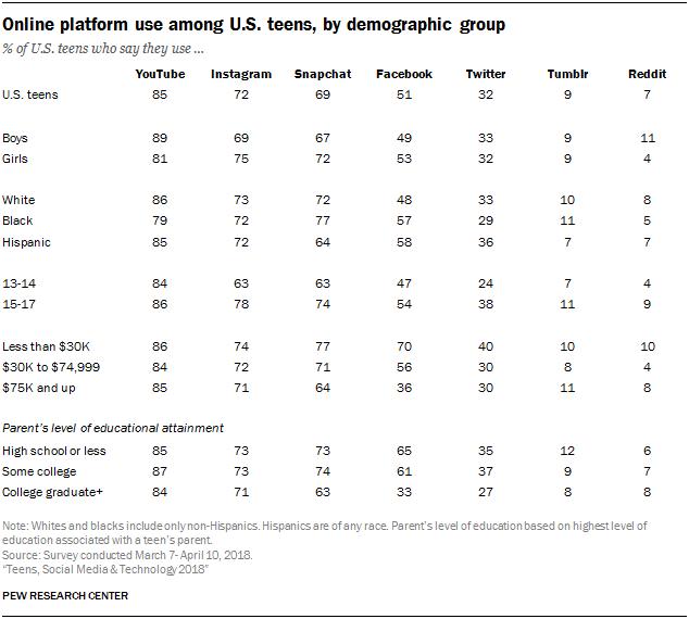 Obliba sociálních sítí podle demografických údajů, zdroj: Pew Research Center