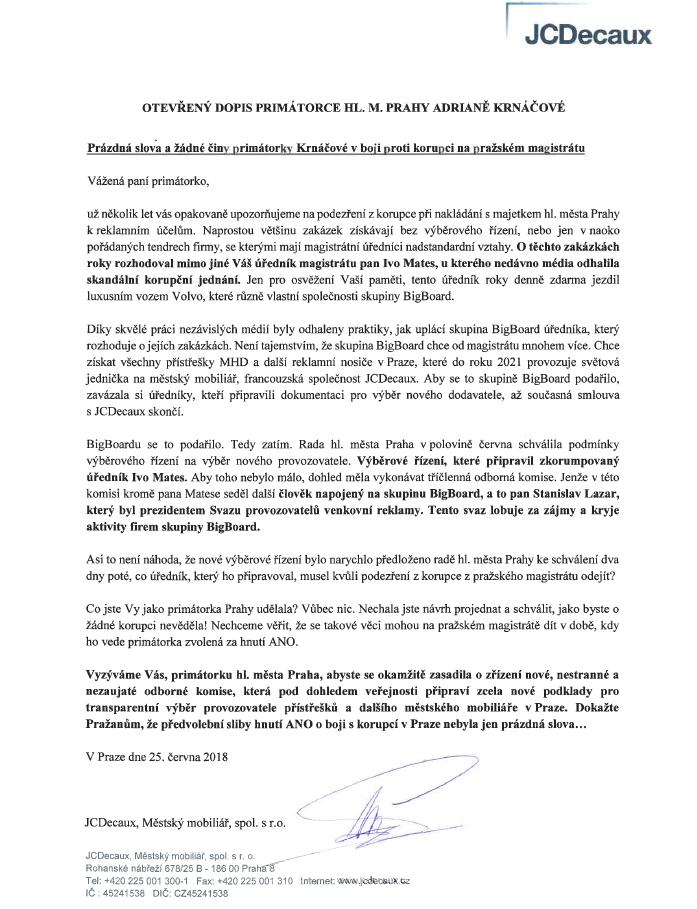 Otevřený dopis společnosti JCDecaux primátorce hl. m. Prahy Adrianě Krnáčové, zdroj: JCDecaux