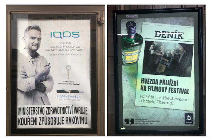 Kampaně značek Iqos a Becherovka lákající na karlovarský festival, foto: MediaGuru.cz