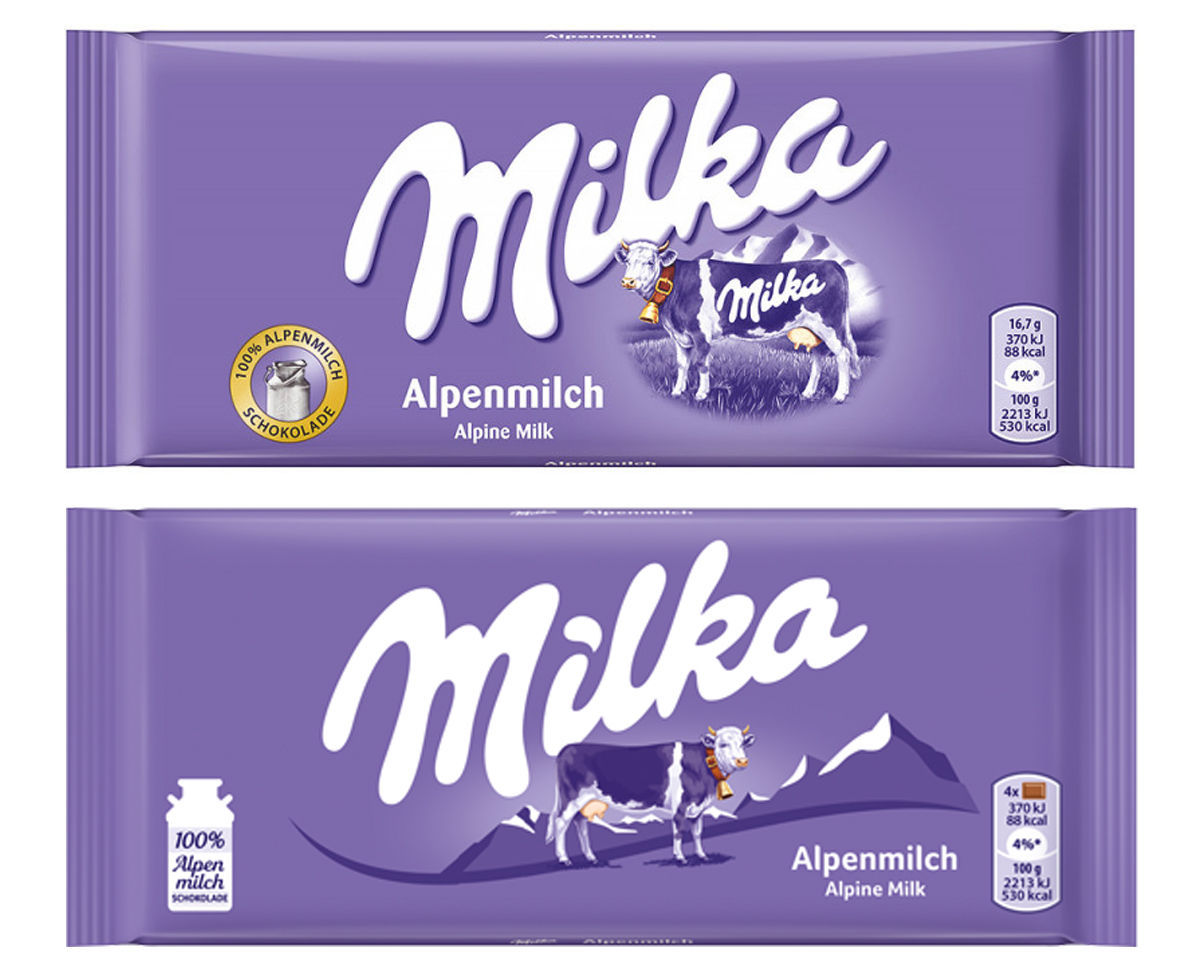 Změna obalů a loga značky Milka, zdroj: WUV.de