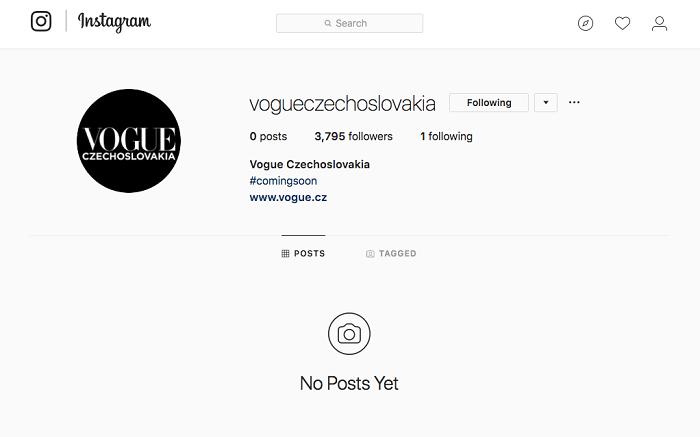 Instagramový účet Vogue CS