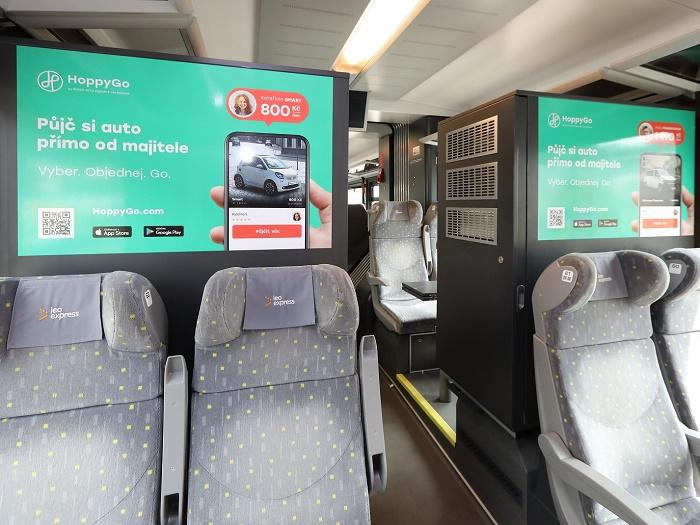 Kampaň probíhá i uvnitř vlaků, zdroj: Leo Express.