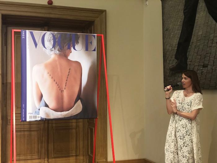 Šéfredaktorka Andrea Běhounková představuje první obálku československé Vogue, foto: MediaGuru.cz.