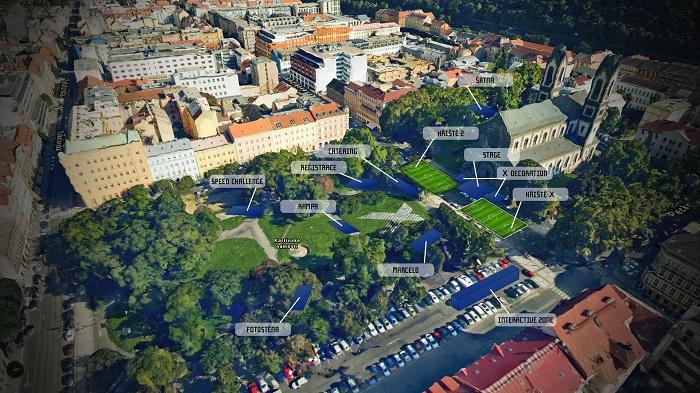 Vizuál akce značky adidas na Karlínském náměstí v Praze, zdroj: Concept One