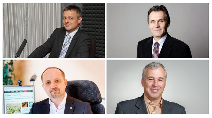 Regionální ředitelé ČRo (nahoře zleva): Josef Podstata, Zdeněk Levý; (dole zleva): Milan Knotek, Zdeněk Duspiva, foto: Khalil Baalbaki