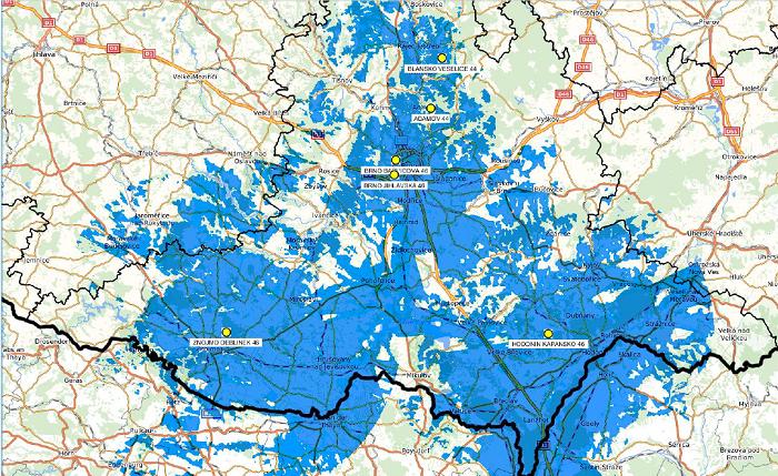Mapa pokrytí Info TV Brno a Jižní Morava