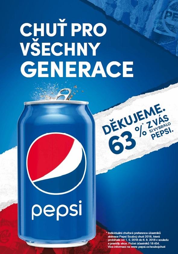 Klíčový vizuál k závěrečné fázi kampaně značky Pepsi pro venkovní reklamu, zdroj: PepsiCo.