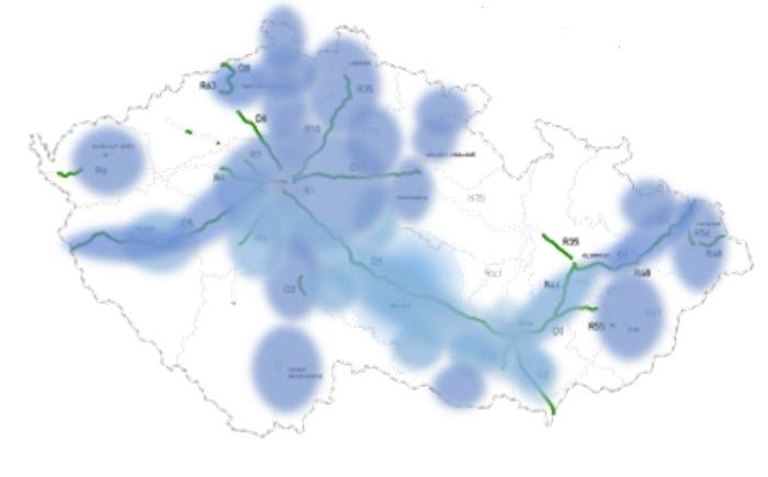 Mapa pokrytí vysílání zpravodajství Rádia Dálnice a Rádia Hey