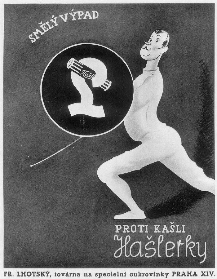 """Se vznikem republiky založil výroby cukrovinek továrník František Lhotský, který v roce 1920 získává souhlas šansoniéra Karla Hašlera, aby po něm pojmenoval své anýzovo-mentolové bonbóny """"Caruso"""", zdroj: Nestlé."""