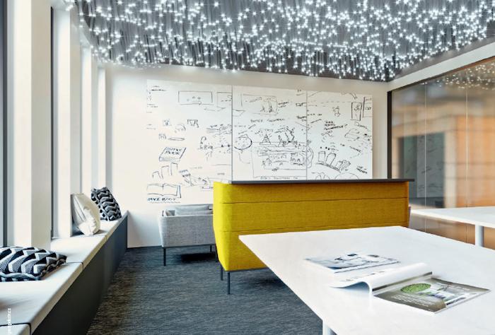 Místnost s tabulí přes celou stěnu, s velkými stoly i pohovkami se hodí k promýšlení strategií, zdroj: Wiesner-Hager.