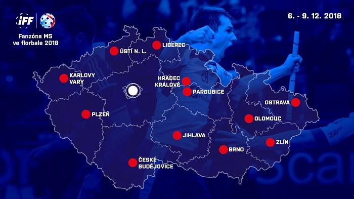 Přehled fanzón na MS ve florbale 2018, zdroj: FB Český florbal