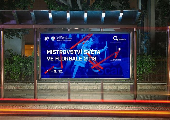 Klíčový vizuál k Mistrovství světa ve florbale, který se koná ve dnech 1. až 9. prosince v České republice, zdroj: Český florbal.
