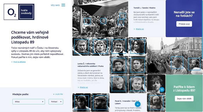 Náhled webu Tváře svobody, zdroj: O2