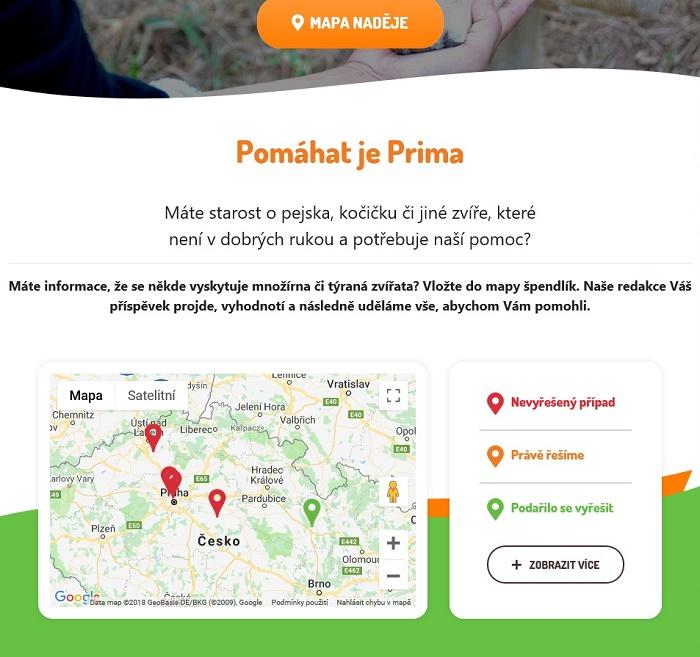 Součástí webu je také interaktivní mapa naděje, zdroj: FTV Prima.