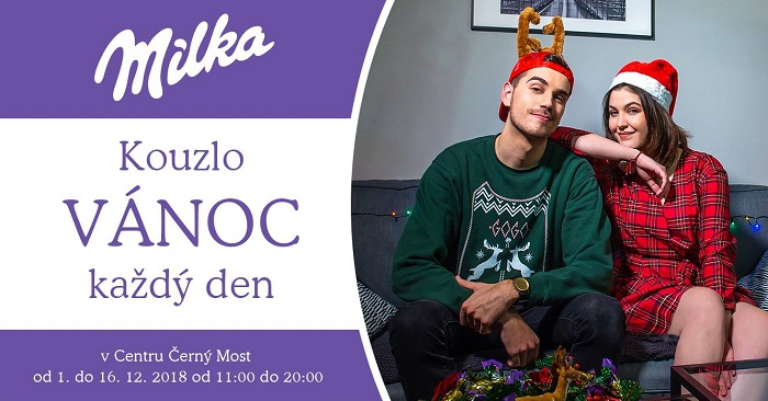 S vánoční kampaní značky Milka se letos spojuje zpěvačka Celeste Buckingham a youtuber GoGoManTV, zdroj: FB Milka.