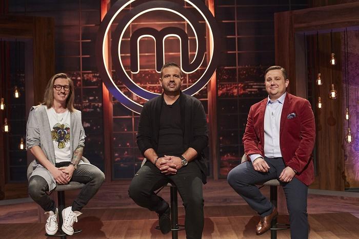 Porotci kuchařské show MasterChef Česko (zleva): Přemek Forejt, Radek Kašpárek a Jan Punčochář, zdroj: TV Nova