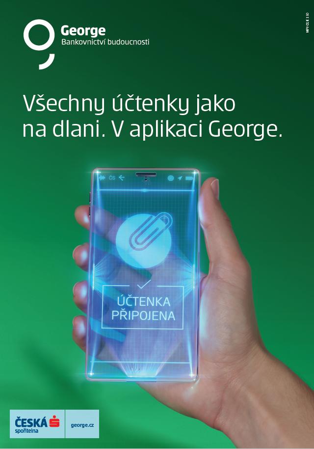 Klíčový vizuál ke kampani České spořitelny na George a možnosti připojit si účtenku v aplikaci k platbě, zdroj: ČS