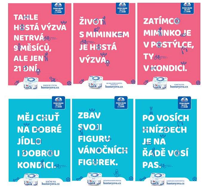 Ukázky printových inzerátů: v horní řadě v časopise Maminka, v dolní v časopise Dieta, zdroj: Polabské mlékárny