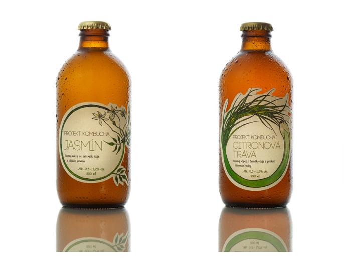 Projekt Kombucha zatím nabízí dvě varianty, s příchutí jasmínu a citronové trávy, zdroj: Reborn Food.