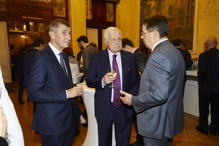 Andrej Babiš, Václav Klaus a Christoph Mainusch, foto: TV Nova