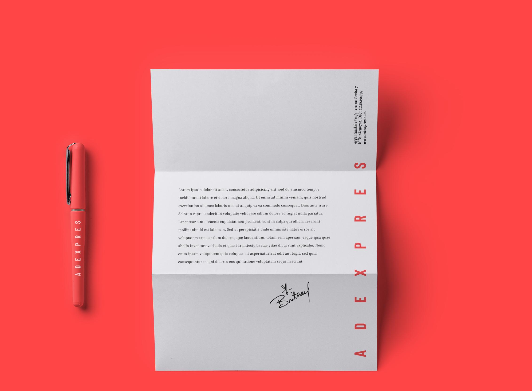 Nová vizuální identita agentury Adexpres na dopisním papíře, zdroj: Adexpres